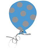 ballon azuur blauw met stippen herfst feestslinger tekstslinger naamslinger stippenballon feestballon
