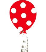 ballon rood met witte stippen herfst feestslinger tekstslinger naamslinger stippenballon feestballon