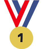 medaille medallon goud nr1 nr.1 gewonnen kampioen goud zilver brons tekstslinger naamslinger feestslinger