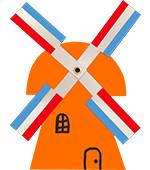 hollandse molen oranje vlag rood wit blauw oranje koningsdag nederlandse molen hollands glorie koninginnedag koningsfeest kinderdijk wereld erfgoed wieken