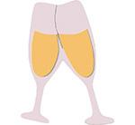 champagneglazen bruiloft toasten feest verjaardag nieuwjaar feestslinger kurk ontkurken